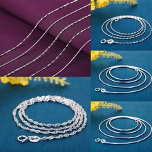 Fashion Silver Plated Figaro Chain Twist Curb Necklaces Women Long Water-wave Snake Chains  D30