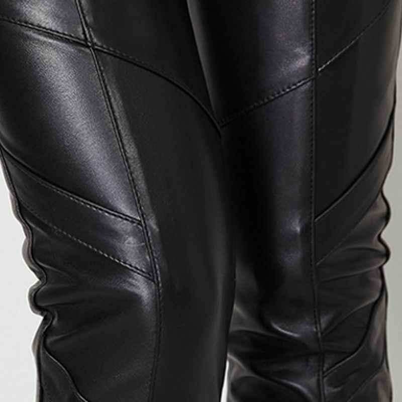 2020 yeni varış moda bayan uzun pantolon hakiki deri kış koyun derisi sıska artı boyutu Slim Fit seksi elastik bel pantolon