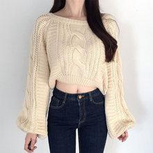 Осенне зимний Универсальный простой пуловер с рукавами фонариками