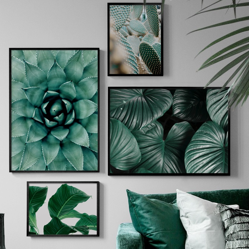 Feather Monstera Cactus Succulent plants Wall Art Canvas Painting Nordic Posters And Prints Pictures For Living Room Decor
