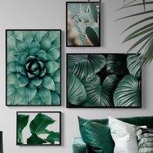 Feather Monstera Cactus Succulent plants Wall Art Canvas Painting Nordic Posters And Prints Wall Pictures For Living Room Decor nordic poster succulent plants posters and prints cactus cuadros wall art canvas painting wall pictures for living room unframed