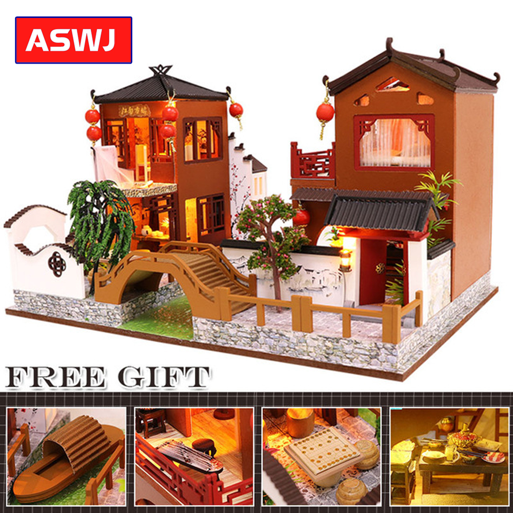 2019 DIY Dollhouse Wooden doll Houses Miniature Doll House Furniture Kit Led Toys for Children Birthday Christmas Gifts