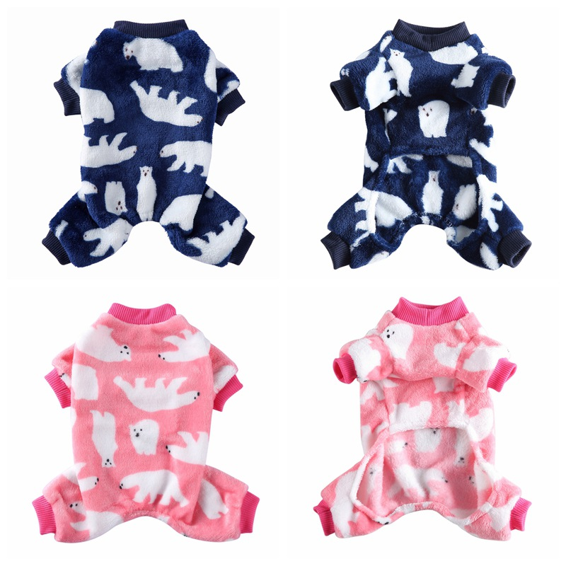 Lovely Dog Polar bear Print Pajamas Warm Fleece Pet Dog Clothes Chihuahua Puppy Clothing for Dog Winter Jumpsuit Pet Clothing