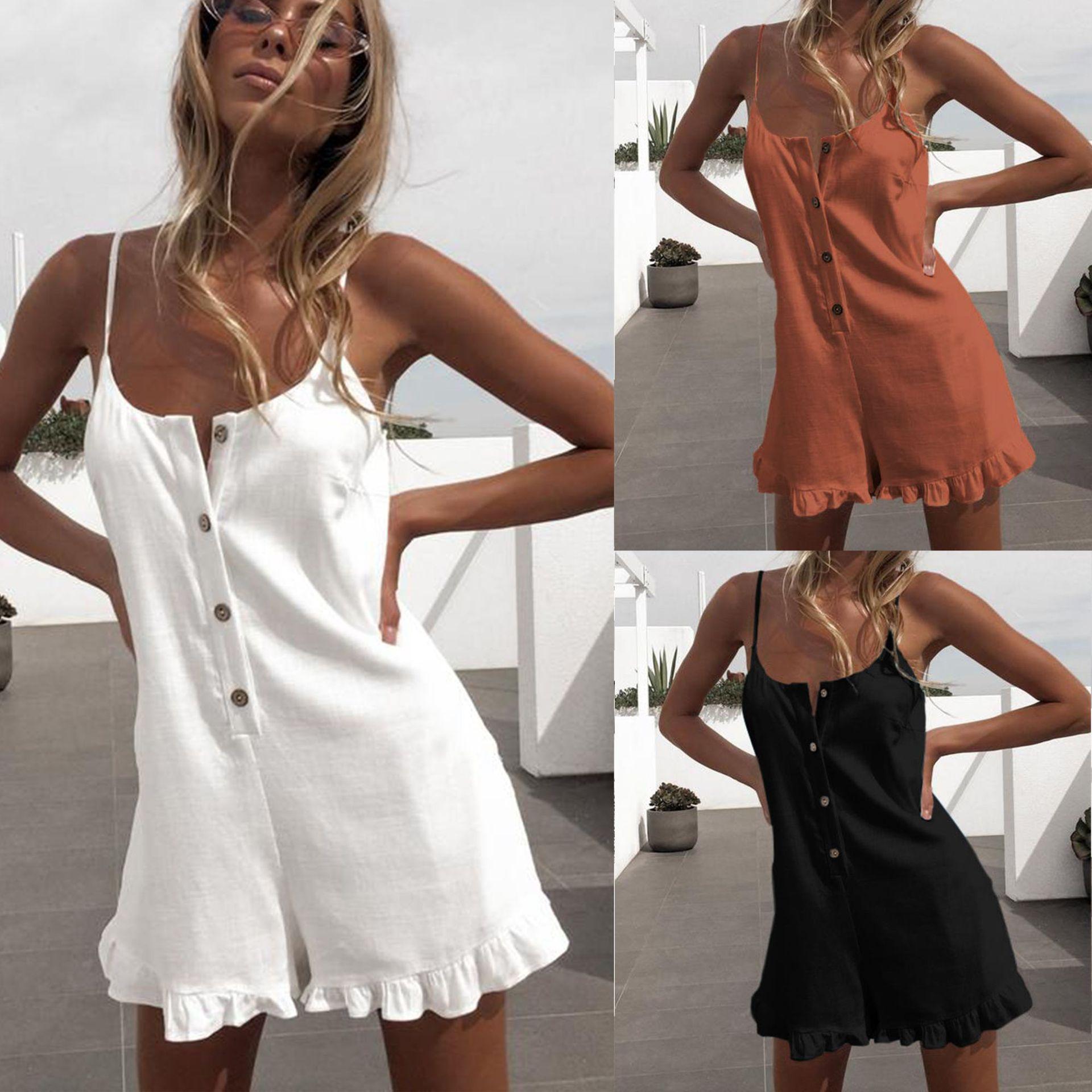 2019 Sexy Sleeveless Button Ruffled Off Shoulder Halter Women Playsuit Women Romper Sexy Playsuit
