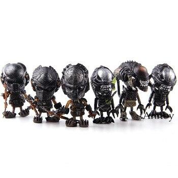 Aliens Requiem Mini Cosbaby Predalien Battle Damaged Alien vs predator Wolf Figure Action PVC AVP Toys 6pcs/set with color box фото