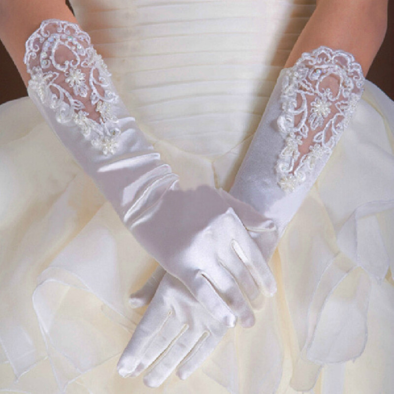 1PCS Bride's Dress Gloves Lengthened With Nail Beads And Small Embroidered Flat White