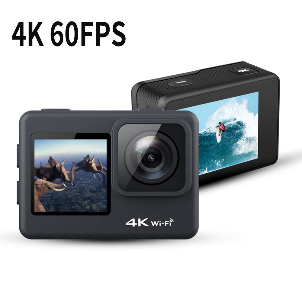 Action Camera 4K 60FPS WiFi 24MP 2.0 Touch Dual Screen 170D Remote Control Helmet Go Waterproof Pro Video Recording Sport Cam