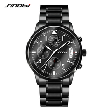 SINOBI Luxury Men Waterproof Stainless Steel Pilot Wrist Watches Chronograph Date Sport Diver Luminous Quartz Watch Montre Homme