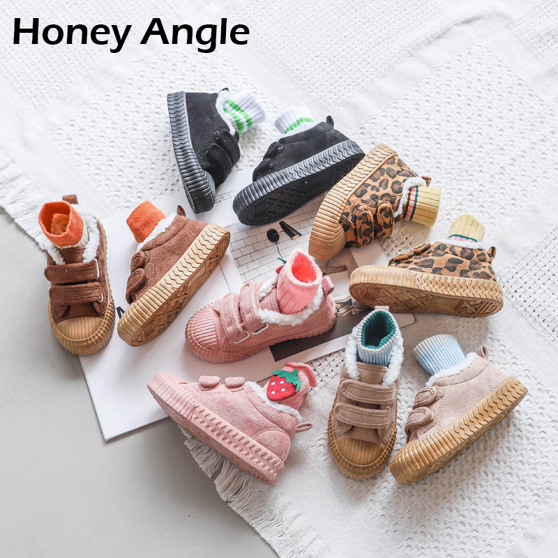 Honey Angle Winter Kids Canvas Shoes Thicken Children Snow Shoes Korean Version Toddler Baby Canvas Shoes Footwear Size 25-36