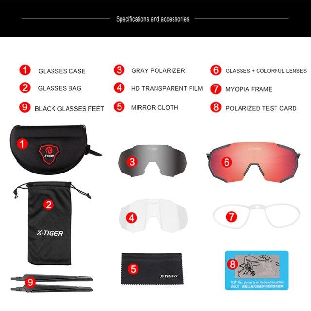 X-TIGER polarizado ciclismo eyewear óculos de ciclismo mountain bike óculos de sol uv400 equitação óculos de ciclismo 2