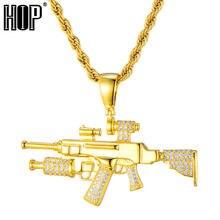 Sniper подвеска Ружье Ожерелье для мужчин и женщин хип хоп золотой