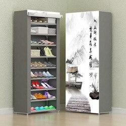 Basit kombinasyonu ayakkabı dolabı dokunmamış kumaş depolama ayakkabı rafı katlanır toz geçirmez ayakkabı dolabı ev yurt organizatör ayakkabı
