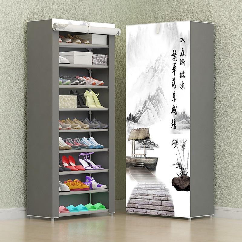 Шкаф для обуви из нетканого материала, простой комбинированный складной органайзер для хранения обуви, защита от пыли