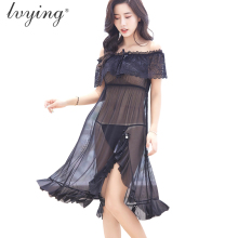 Brand New Style Sexy Lace Women Pyjamas Night Dress Silk Nightgown Female Lingerie Sleepwear Long Skirt Girls Nightwear Nightie