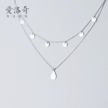 AROCH S925 Collar de plata de las mujeres es japonés y Corea del Sur, estilo de moda Simple lado brillante oblea doble capa elegante gargantilla