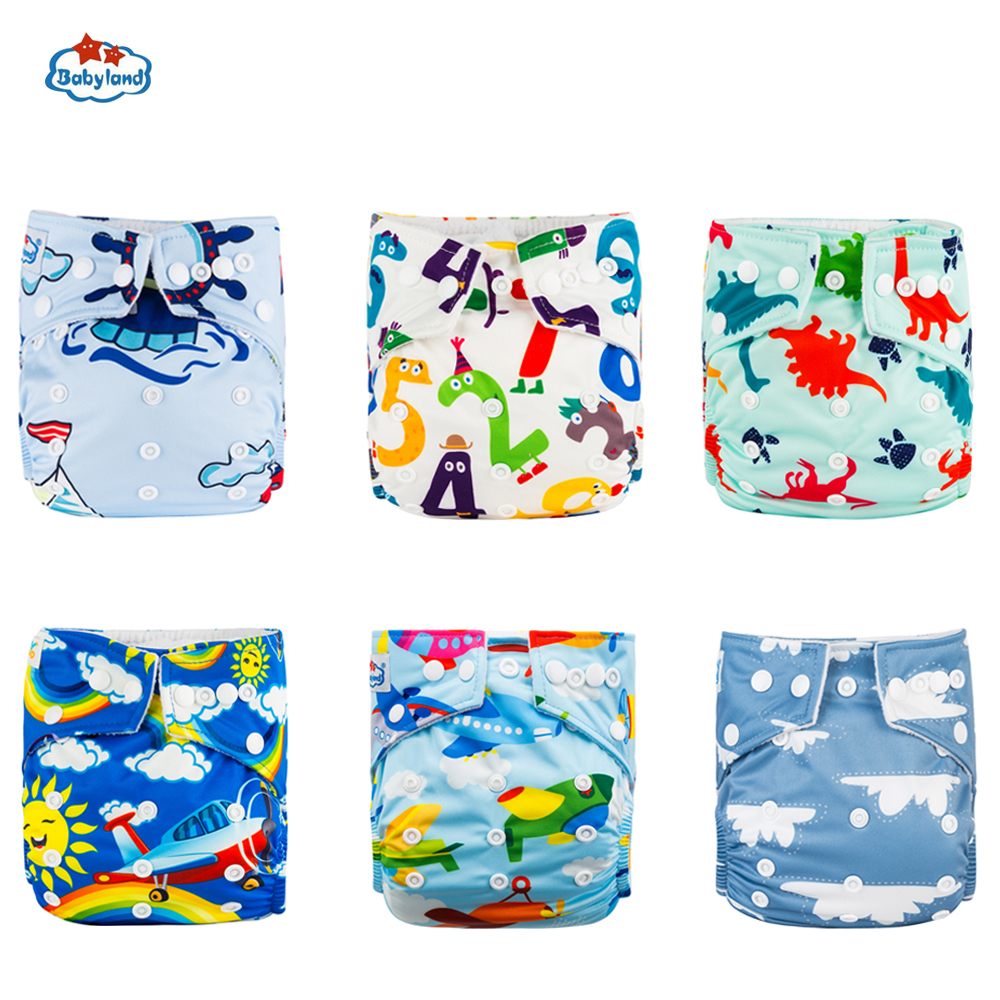 30% Discount Promotion New Babyland Reusable Diapers 6pcs/Set ECO-Friendly Cloth Nappy Cover Washable Pocket Diaper Pants China