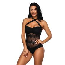 Sexy One Piece Swimsuit Women 2020 Cross Halter High Cut Thong Onepiece Low Back Lace Hollow Out Bathing Suits low cut lace halter backless teddy