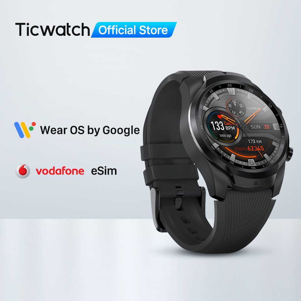TicWatch Pro 4G/LTE EU Version (Refurbished) 1GB RAM Sleep Tracking IP68 Waterproof NFC for Vodaphone in DE Men's Sports Watch