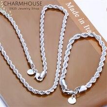Charmhouse Серебро 925 комплекты украшений для женщин мужчин 3 мм браслет с витой цепью ожерелье 2 шт наборы модные ювелирные изделия бижутерия