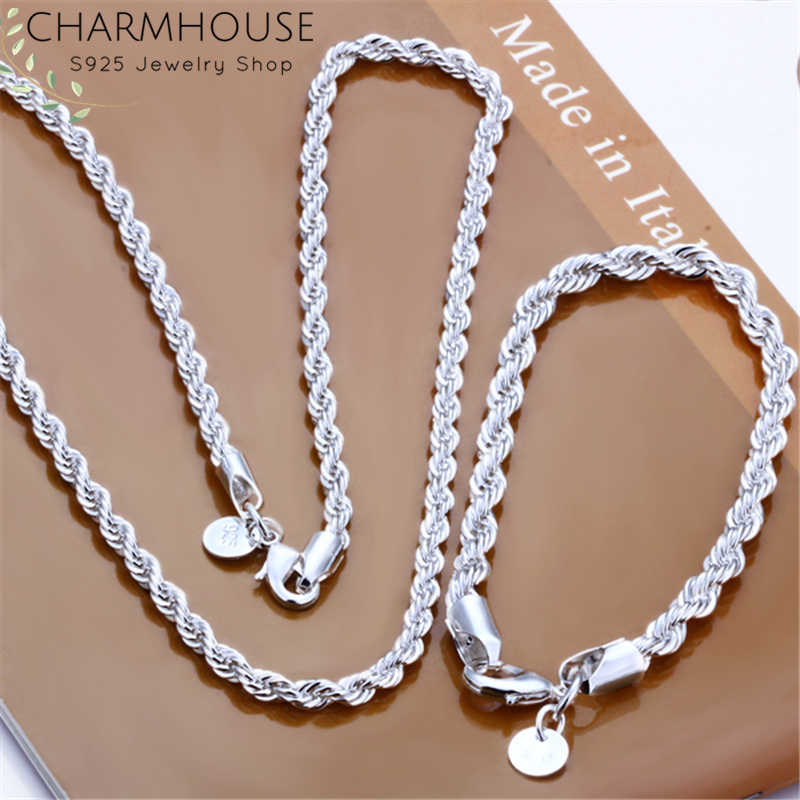 Charmhouse Silver 925 Jewelry Sets For Women Men 3mm Twisted Chain Bracelet Necklace 2pcs Sets Fashion Jewelry Wholesale Bijoux