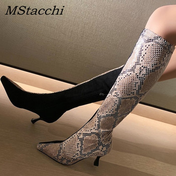 MStacchi Elegant Wine Glass Heel Boots Sexy Ladies Snake Leather Black Suede Patchwork Winter Botas Mujer Pointed Toe Shoe Woman