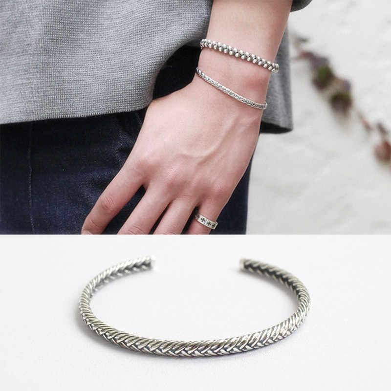 XIYANIKE 925 стерлингового серебра винтажные регулируемые новые модные гипоаллергенно браслеты и браслет Простые Ювелирные изделия для женщин подарок