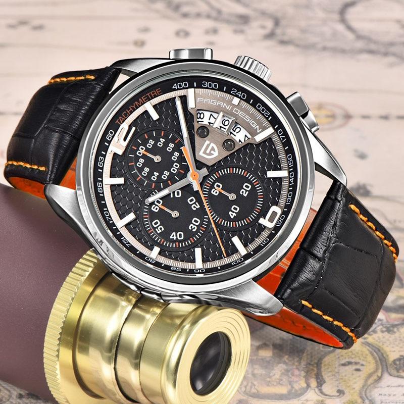 Marca de Luxo Pagani Design Relógios Homens Multifunções Quartzo Masculino Cronógrafo Relógio Esporte Mergulho 30m Casual Mod. 161012