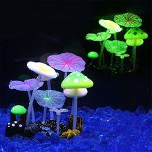 9 шт. грибной орнамент, флуоресцентные искусственные растения, украшения для аквариума, водная трава, лотос, аквариумные Ландшафтные инструменты