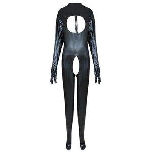 Image 4 - بدلة للجسم جذابة مصنوعة من الجلد الصناعي بتصميم رطب بدون كروتشليس بدلة Catsuit لارتدائها أزياء لعشيقة بالقدم مقاس كبير