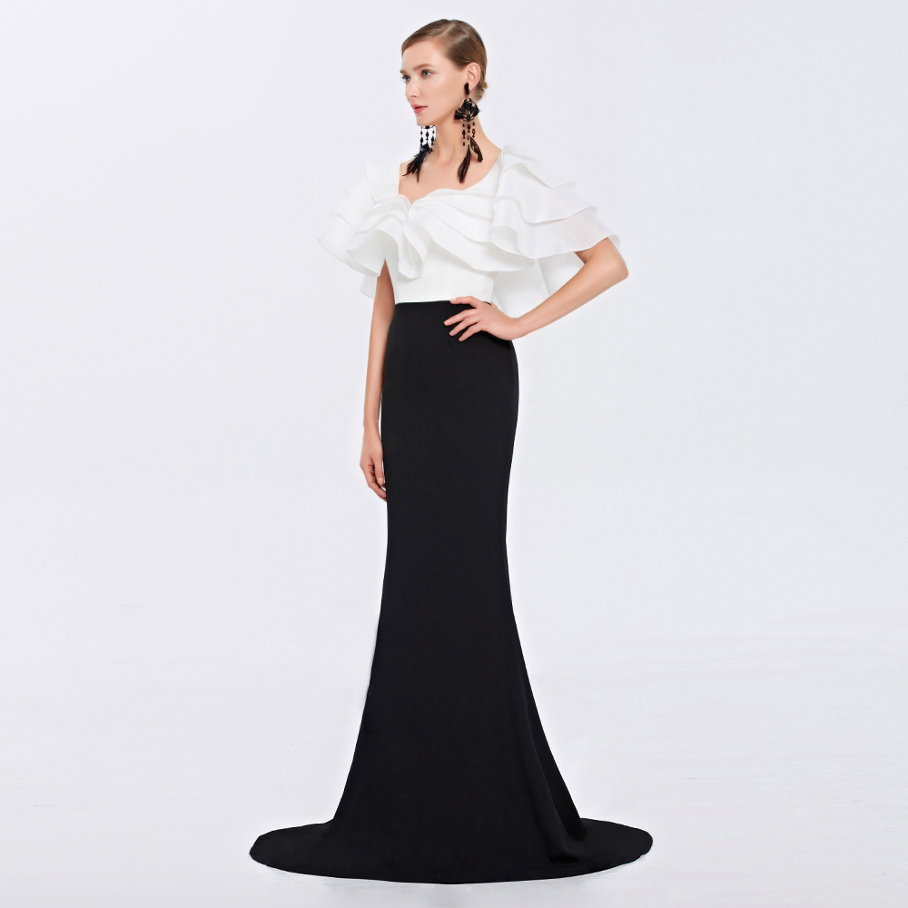 Robe De Soiree Lotus Leaf Sleeves Sweep Train Deep V-neck Elegant Prom Long Evening Prom Gown 2018 Mother Of The Bride Dresses