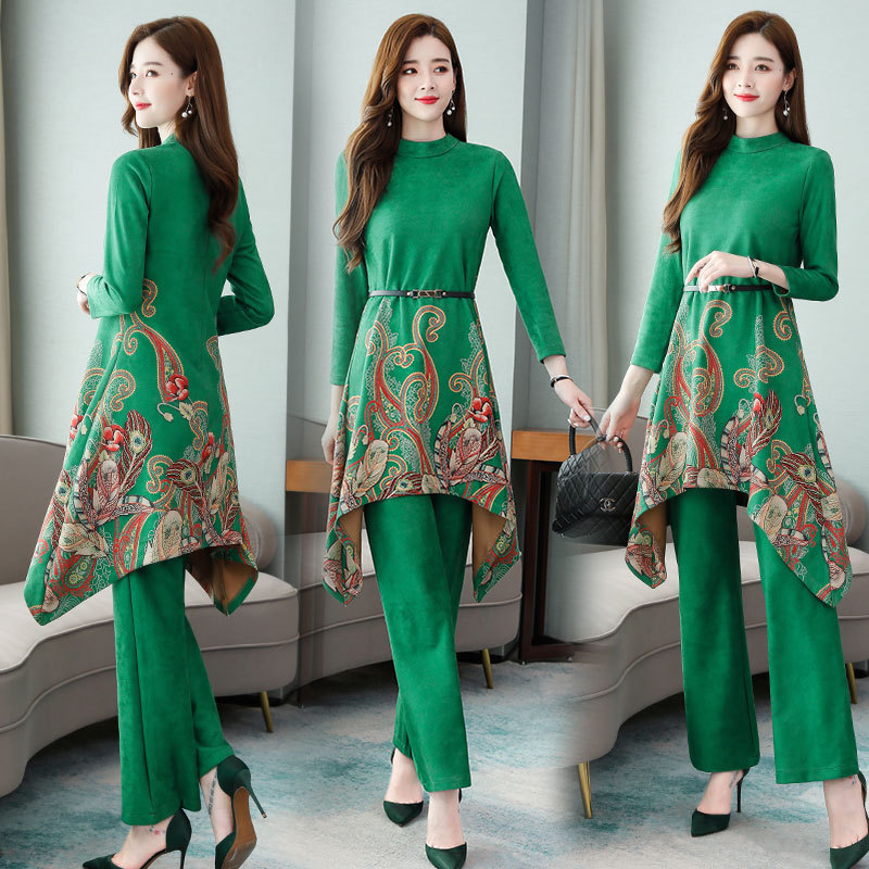 Ethnic-Style Fashion WOMEN'S Suit Large Size Long Sleeve Retro Printed Pendant Sense Loose Pants Two-Piece 2019 Autumn And Winte