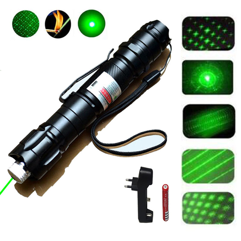 Chasse haute puissante 1000m 5MW vert Laser pointeur lampe de poche militaire réglable Focus Laser vue avec 18650 batterie + chargeur