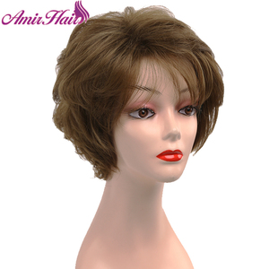 Short Layered Ombre Brown Amir Full Wigs for Women Hairstyle Natural Hair Daily Wigs with Bangs Heat Resistant Synthetic Wigs
