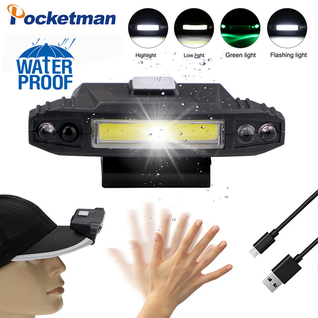 COB Headlamp 4 Modes USB Rechargeable Cap Clip Light Induction COB Headlamp Hat Clip Light Lamp Cap Built-in Battery Lighting
