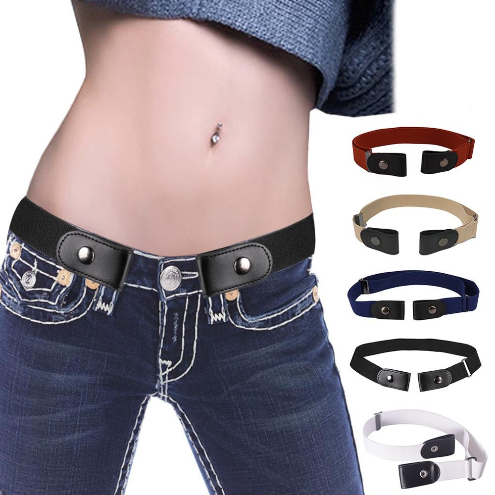 Invisible Lazy Buckle-Free Elastic Waist   Belt   Stretchy Women Men Jeans Pants Dress Waistband Adjustable No Hassle 5 Colors