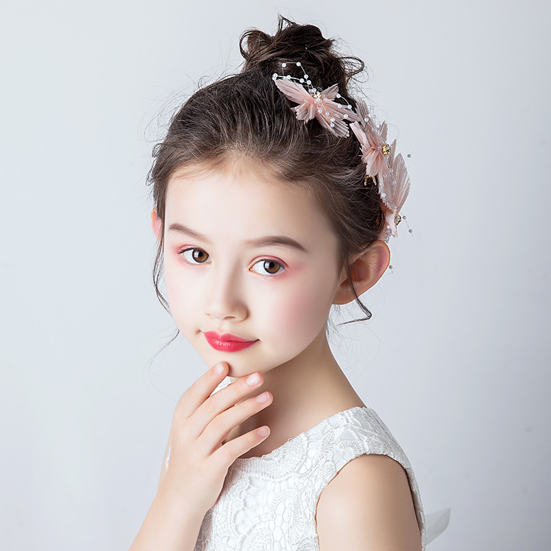 Girls Hairpin Flower Headdress Little Girl Head Flower Pink Show Party Birthday Gift Hair Princess Sweet Wind Wholesale