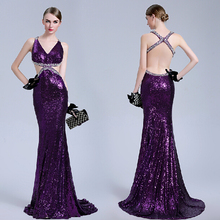 vestido de festa pearls purple sequined new hot sexy backless fashion prom crystal beading Formal gown 2018  bridesmaid dresses