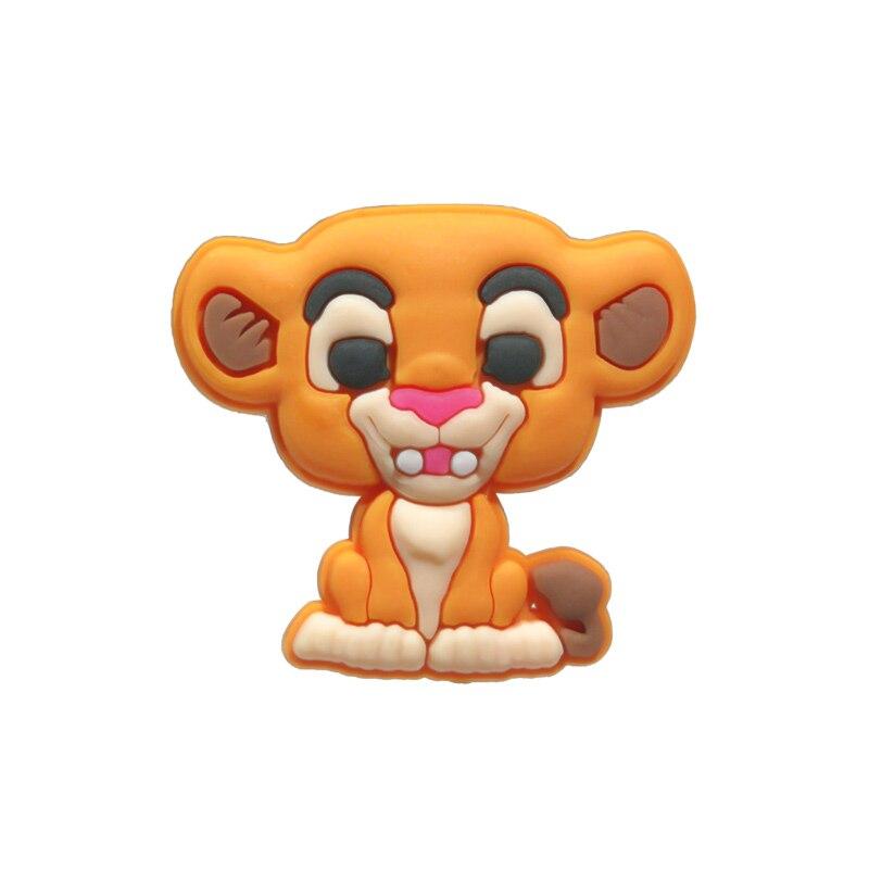 New 1pcs Cute Lion PVC Shoe Charms Novelty Shoe Accessories Buckles Fit Bracelets Croc Charms JIBZ Kids Gift For Christmas