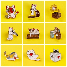 Cartoon Cat Pins Custom Cute Brooches Lapel Pin On Clothes T-Shirt Backpacks Funny Animal Enamel Badge Jewelry Gift For Friends funny cats enamel pins middle finger cat animal badge brooches lapel pins denim shirt bag cartoon fashion jewelry gift friends