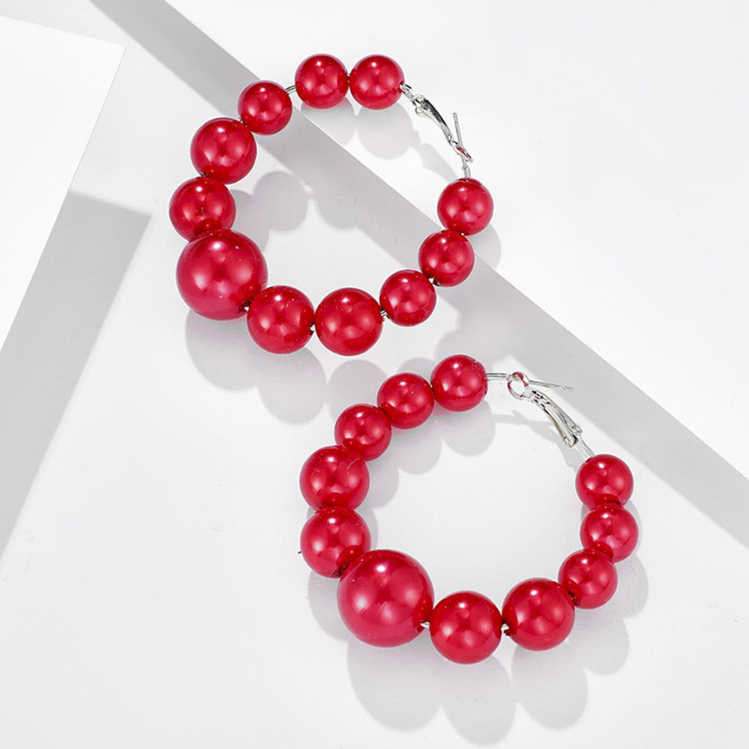 H360ae656634b4c70ad0038477078f91fG - Bohemian Red Beads Hoop Earring Punk Large Circle Huggie Hoop Earring For Women Vintage Statement Geometric Earring Jewelry
