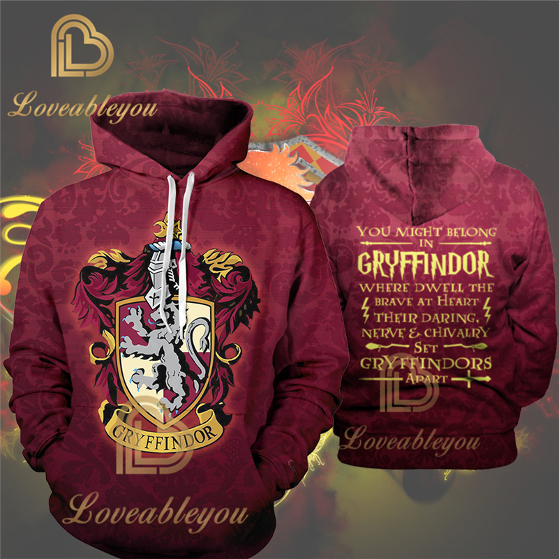Fans Wear Gryffindor 3D Printed Hoodie With Pocket Hogwarts Gryffindor For Adult Unisex Sweatshirt Cosplay Costume