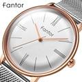 Fantor минималистичные сетчатые стальные часы мужские роскошные брендовые Классические кварцевые наручные часы с синим циферблатом мужские ...