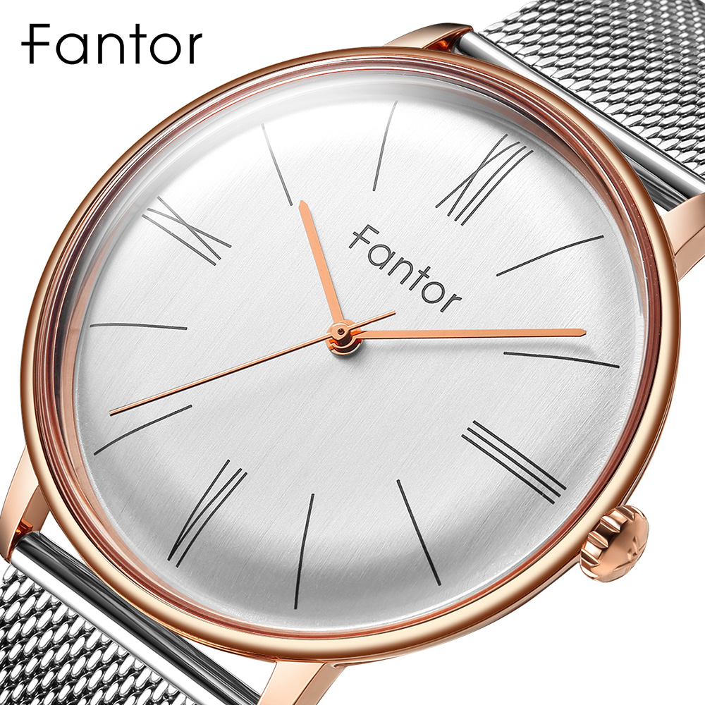 Fantor Minimalist Mesh Steel Watch Men Luxury Brand Classic Blue Dial Quartz Wristwatch Man Waterproof Fashion Business Watches