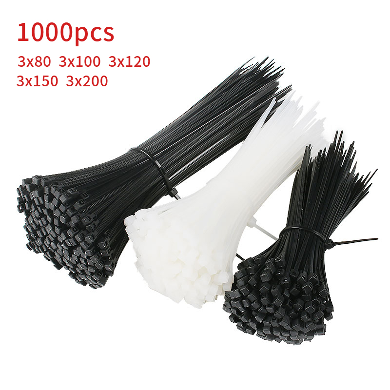1000Pcs/pack 3*150mm/100/120/200  Width 1.8mm Black  Color Self-locking Plastic Nylon Cable Ties,Wire Zip Tie 4*200 Width 2.5mm