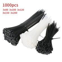 1000 unidades/pacote 3*150mm/100/120/200 largura 1.8mm, cor preta auto-travamento de plástico nylon gravatas de cabo, laço de fio 4*200 largura 2.5mm