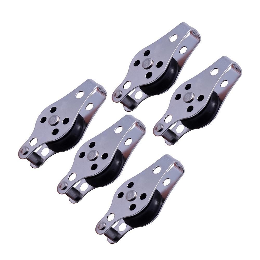 5PCS 316 Stainless Steel Pulley 60mm Blocks Rope Pulley Nylon Sheave Single Lashing Eye For 2mm To 8mm Rope