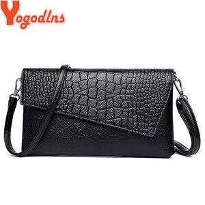 Yogodlns Women PU Leather Crocodile Pattern Shoulder bag Ladies Crossbody bag Female Small Purse
