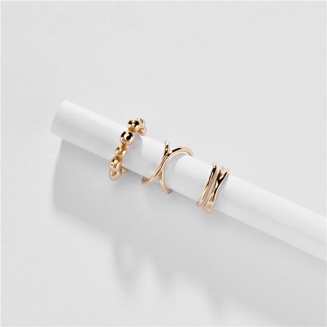 F.I.N.S 3 pièces/ensemble mode coréenne à la mode femmes or couleur cuivre oreille poignets pour femmes métal Clip sur boucles doreilles pas percé