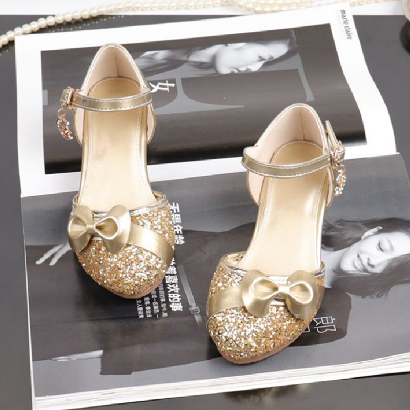 Glitter Gold Shoes For Girls Dress Wedding Party Bridesmaids Heel Mary Jane Princess Shoes Fashion Bow-knot Kids Leather Flats