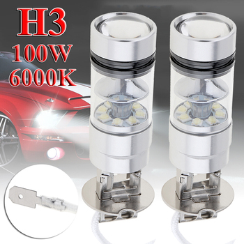 2pcs H3 LED Fog Light 100W Super Bright Chips Car Driving Bulb 12/24V White image
